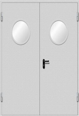 Дверь двухстворчатая с круглыми стеклами EIWS-60